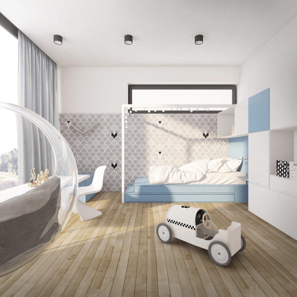 Dětský pokoj s velkým oknem